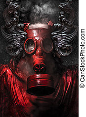 Nuclear attack A man in a gas mask in the smoke artistic...