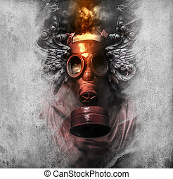 Toxic. A man in a gas mask in the smoke. artistic background
