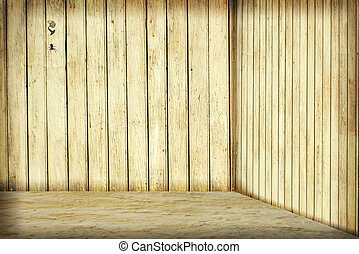 Room with wooden wall, nail and spider
