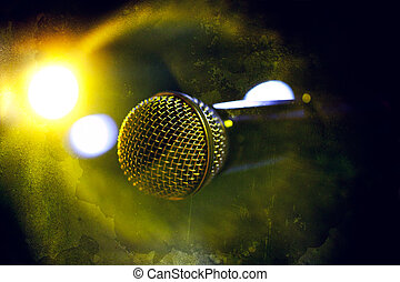 Microphone background - Musical backgroundMicrophone in old...