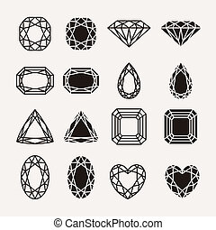 diamond icons - Diamond, gem, jewel icons set isolated...