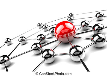 Networking - Internet and networking concept.3D net
