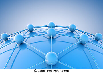 Networking concept - 3d image of blue diagram or...