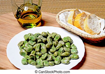 Broad beans in olive oil tapas. - Tapas - Broad beans in...
