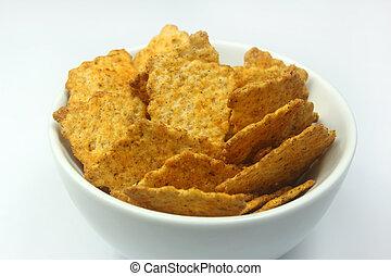 wholegrain crispy snacks in a bowl