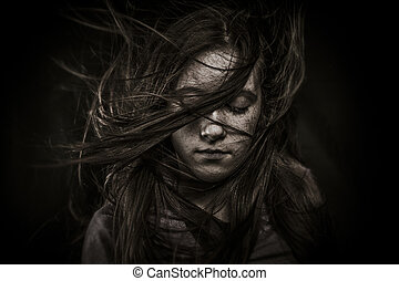 beautiful girl with long hair, developing
