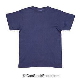 Dark blue tshirt. From the front. Close up
