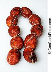 String of mini chorizo sausage.