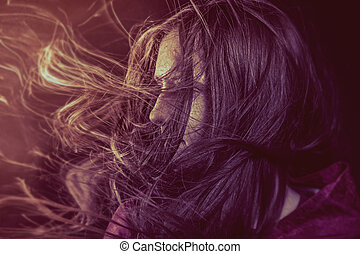 Photo of young beautiful lady with magnificent dark hair,...
