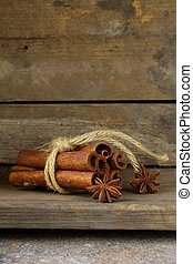 Christmas spices - cinnamon sticks and star anise