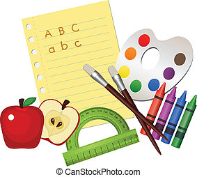 School Supplies - Illustration of school supplies, isolated...