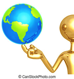 Gold Guy With World On His Finger - 3D Concept And...