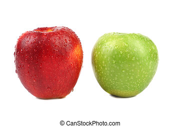 Red and green apples Isolated on a white background