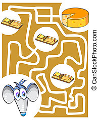 Mouse and cheese - Maze game for kids: Help the mouse find...