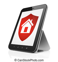 Security concept: Shield on tablet pc computer
