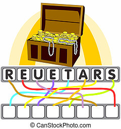 Word game with the treasure