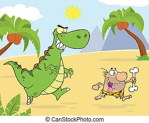 Green Dinosaur Chasing A Caveman - Angry Green Dinosaur...