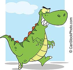 Green Dinosaur Character Running