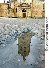 Reflection in the cathedral of Ciudad Rodrigo, Salamanca (Spain)