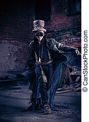 apocalyptic - Portrait of a steampunk man in the ruins.
