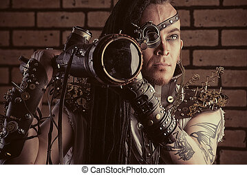 telescopic arms - Portrait of a steampunk man with a...
