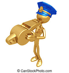 Golden Police Officer Blowing Whistle - 3D Concept And...