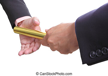 businessman send golden baton to another one