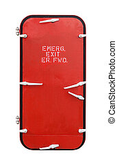 this is emergency door on industrial boat ship isolated on white background