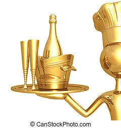 Golden Chef Serving Champagne - 3D Concept And Presentation...