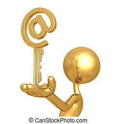 Golden Email Key - 3D Concept And Presentation Figure