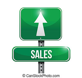 sales road sign illustrations design over a white background