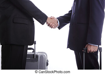Businessman oversea business shake hand with partner before...