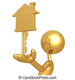 Golden Home Key - 3D Concept And Presentation Figure