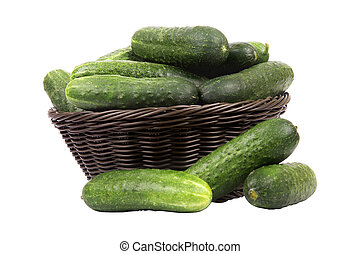 basket with cucumbers - Brown basket with ripe green...