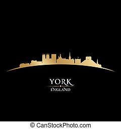 York England city skyline silhouette black background