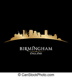 Birmingham England city skyline silhouette black background...