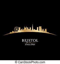 Bristol, inglaterra, ciudad, contorno, silueta, negro, Plano...