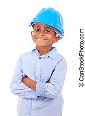 African American little boy wearing a protection hat, isolated on white background - Black people
