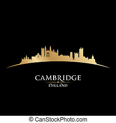 Cambridge England city skyline silhouette black background -...