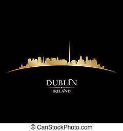 Dublin Ireland city skyline silhouette black background -...