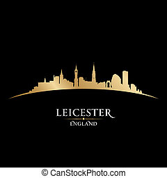 Leicester England city skyline silhouette black background -...
