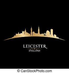 Leicester England city skyline silhouette black background