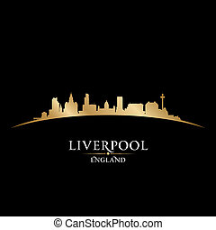 Liverpool England city skyline silhouette black background -...