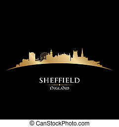 Sheffield, inglaterra, ciudad, contorno, silueta, negro,...