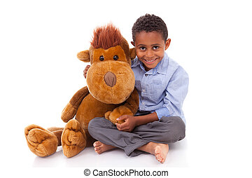 African American little boy holding a plush - Black people -...