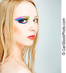 makeup - close-up portrait of blonde with creative make-up