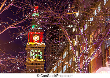 Christmas in Denver - View of the Daniel Fisher Clock Tower...