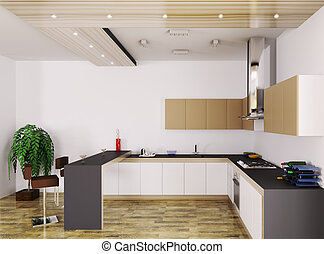 Modern kitchen interior 3d