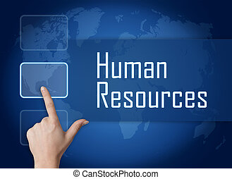 Human Resources concept with interface and world map on blue...