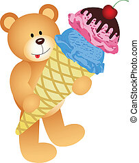 Teddy Bear with Ice Cream Cone - Scalable vectorial image...